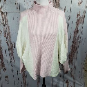 Vince Camuto pink white balloon sleeve sweater M
